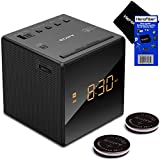 Sony Dual Alarm Clock with Extendable Snooze, AM/FM Radio, Built-in Calendar, Large LED