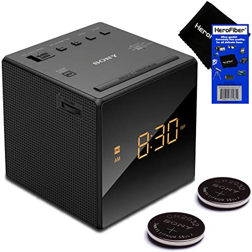 Sony Radio Alarm Clock for Bedrooms with Am/FM Tuner, Gradual Wake Alarm, Extendable Snooze, Auto DST Adjustment, Large LED Display & Battery Backup + Repl. Batteries (2 Pack) + Herofiber (Sony Dual Alarm Clock)