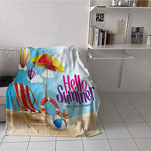 (Khaki home Children's Blanket Convenience Digital Printing Blanket (50 by 70 Inch,Lifestyle Decor,Hello Summer Enjoy Every Moment Quote with Sandy Beach Umbrella Holiday Design,Multi)