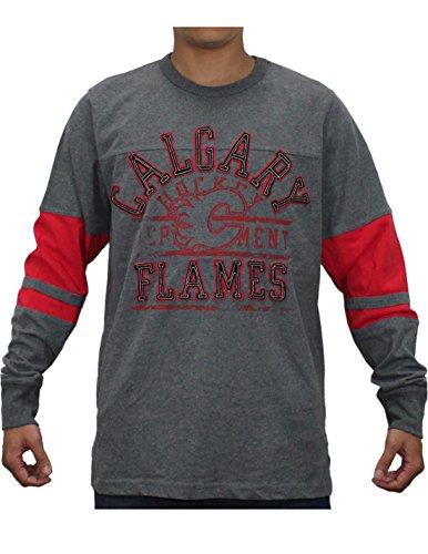 NHL CALGARY FLAMES Mens Heavy Weight Long Sleeve Shirt (Vintage Look) M Grey
