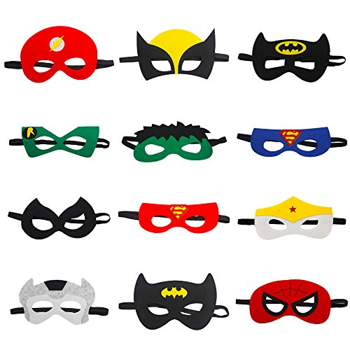 Superhero Mask Party Mask Birthday Party Favors for Kids and Adults 12 (Old Market Halloween)