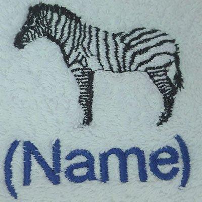 Albornoz con capucha infantil con una cebra Logo y nombre de su elección en color rosa