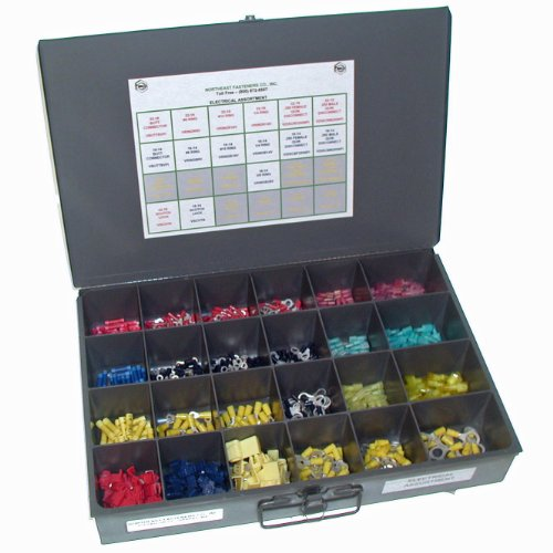 NEF Butt Connector Assortment with Ring Terminals, Quick Disconnect Terminals and Scotch Lock Terminals, 721 Piece by Northeast Fasteners