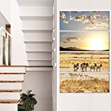 Designart MT12811-271V Zebras & Antelopes in Africa - Oversized African Landscape Glossy Metal Wall Art,Brown,28x48