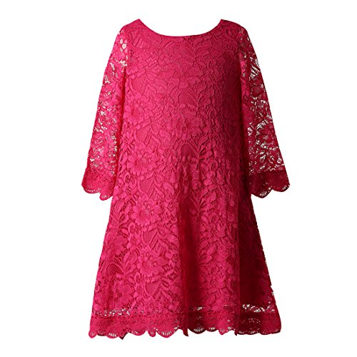 Funtrees Little Miss Lace Overlay A-Line Long Sleeve Dress Size 10-11 Rose ()