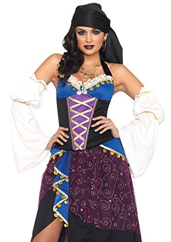 Fortune Teller Costume For Halloween (Leg Avenue Women's 4 Piece Tarot Card Gypsy Costume, Purple/Blue, Medium)