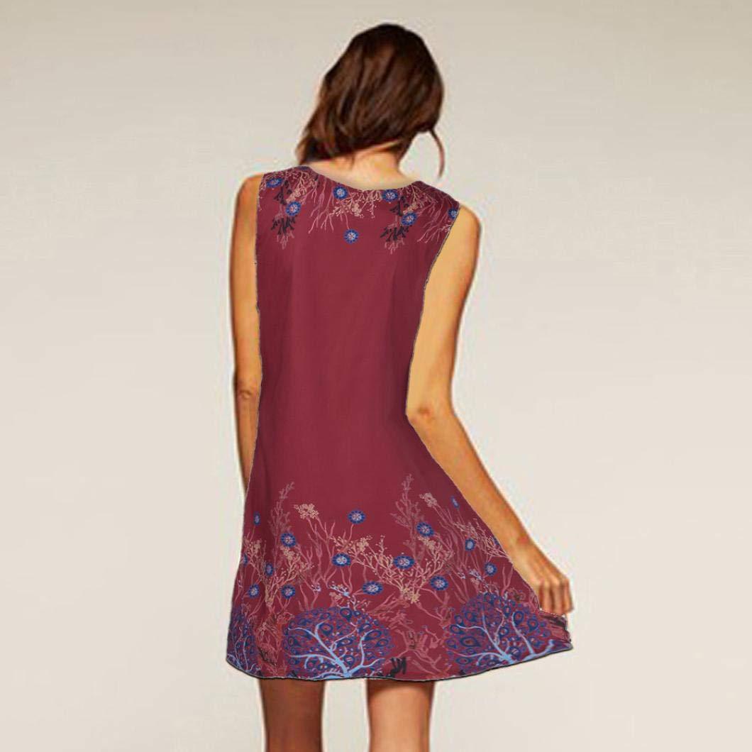 AmazingDays Kleid Kurz Damen Sommerkleid A Linie Drucken Kleider Elegant  Strandkleider GüNstig Minikleid Club Freizeitkleid (Rot, M)  Amazon.de   Bekleidung 2f65aaaa00