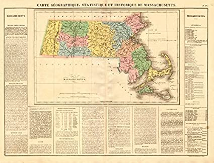 Amazon.com: Machusetts antique state map. Includes Boston ... on