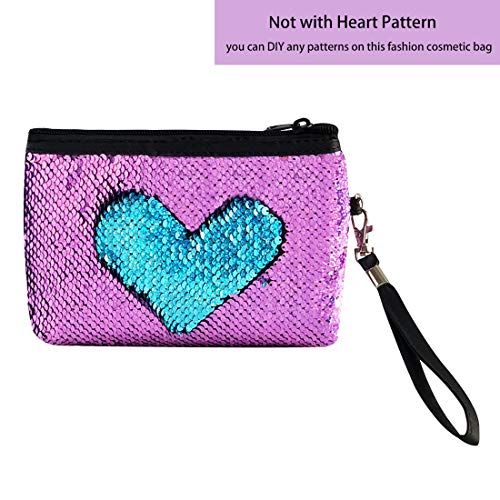 Flip Sequins Cosmetic Bag for Women Girls Glitter Makeup Pouch Pencil Case Organizer Sequence Purse with Wristlet(Violet/Sparkly Blue)