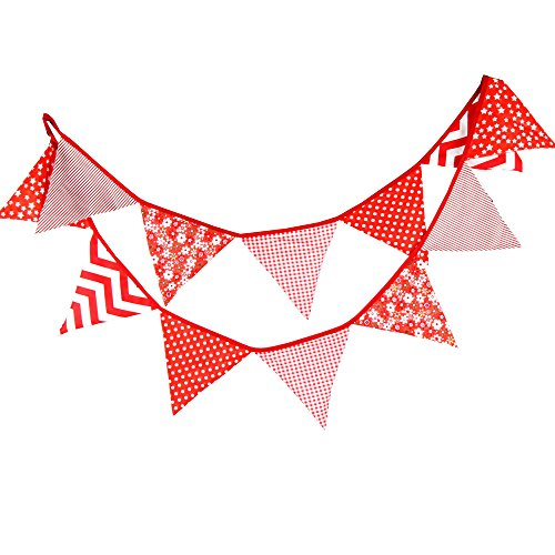 3.3M/10.8 Feet Lovely Bunting Triangle Flag Fabric Banner Pennant Garland Double Sided Vintage Cloth Shabby Chic Decoration for Wedding,Birthday Parties,Ceremonies,Kitchen,Bedroom (Red) -