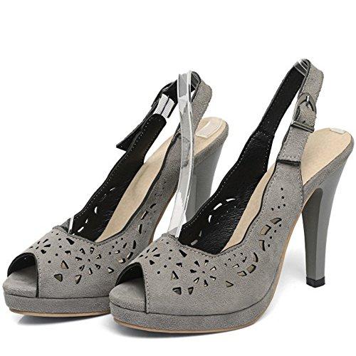 Elegant Hauts de Sandales Mariage Peep Femmes TAOFFEN Toe Gris Chaussures Conique Talons Slingback wS0OaOxB5q