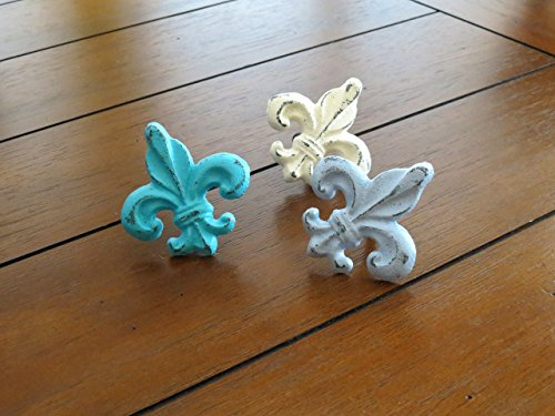 Door Knobs Cast (Fleur De Lis Cast Iron Knob Choose from 40+ Colors Cabinet Drawer Dresser Door Pull French Country Handle Furniture Hardware (Sold per Unit))