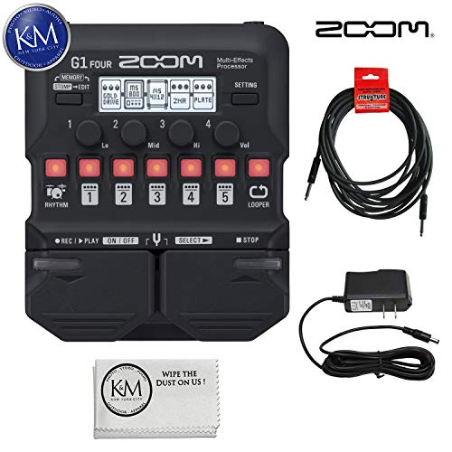 Zoom G1 Four Guitar MultiEffects Processor + (1) 20ft Instrument Cable + (1) 9V Power Supply + K&M Cloth