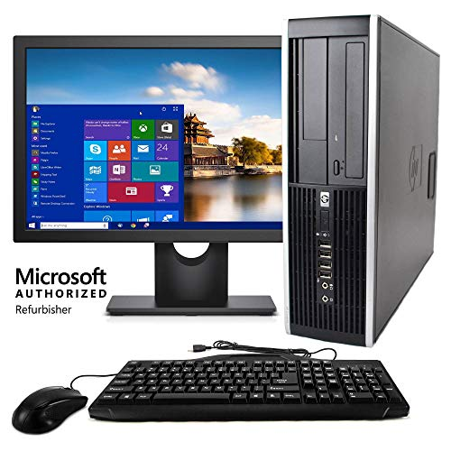HP Elite Desktop Computer, Intel Core 2 Duo 2.9 GHz, 8 GB RAM, 500 GB HDD, Keyboard & Mouse, Wi-Fi, 17in LCD Monitor (Brands Vary), DVD, Windows 10 (Renewed)