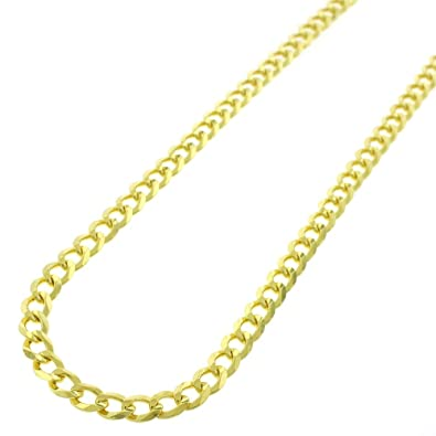 Sterling Silver Italian 5mm Cuban Curb Link ITProLux Solid 925 Yellow Gold  Necklace Chain 16