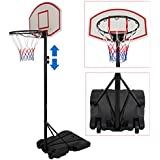 ZENY Portable Basketball Hoop Backboard System Stand and Rim for Kids Youth w/Wheels Adjustable Height 5.4ft - 7ft Indoor Outdoor Game Play Set