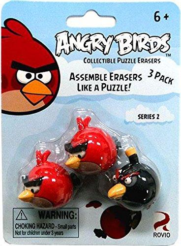 Bird Eraser - Eraseez Collectible Puzzle Eraser 3Pack Angry Birds 2 Red 1 Black