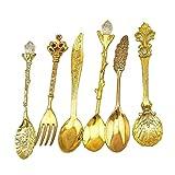 ETbotu 6pcs/Set Nostalgic Vintage Royal Style Metal Carved Coffee Spoons and Fork for Sweet Snacks Gold