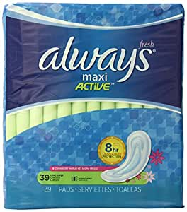 Always Maxi Clean Scent Pads without Wings, Long/Super, 39 Count (Pack of 2)