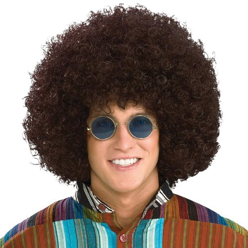 [Forum Novelties Men's Jumbo Afro Hippie Costume Wig, Brown, One Size] (Halloween Costumes Afro Wig)