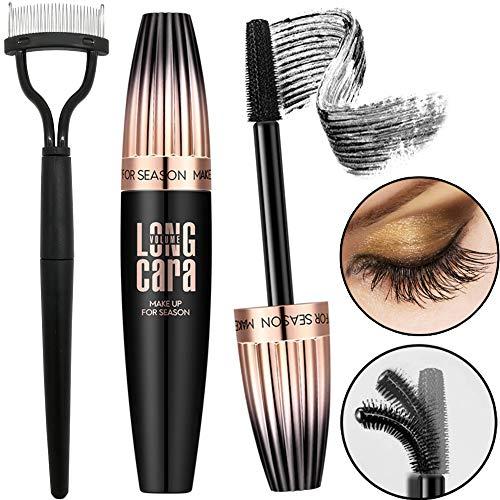 4d Silk Fiber Eyelash Mascara Waterproof (Black), 3d Voluminous Eyelashes Extensions Brush, Lengthening, Volumizing, Thrive, Long-Lasting - Volume Hypoallergenic Formula, With Folding Eyelash Comb