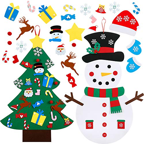 WILLBOND DIY Felt Christmas Tree Set and DIY Felt Christmas Snowman Set, Including 56 Pieces Detachable Ornaments, Xmas Gifts Wall Hanging Games Christmas Decorations for Kids Toddlers (Games Online Xmas For Kids)