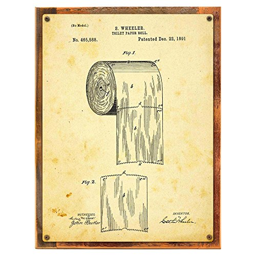 Wood-Framed Toilet Paper Patent Drawing Metal Sign