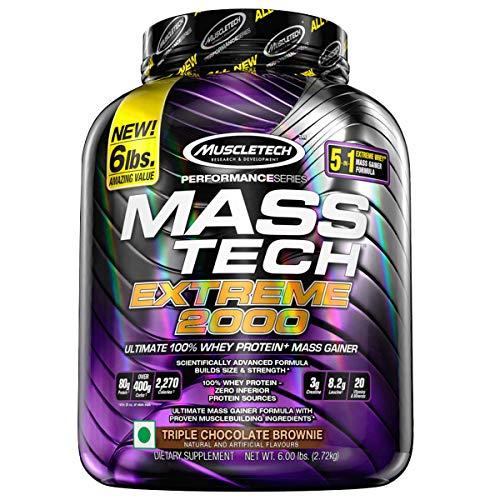Muscletech Performance Series Mass Tech Extreme 2000 (3g Creatine, 8.2g Leucine, 20 Vitamins & Minerals) – 6lbs (2.72kg) (Triple Chocolate Brownie)