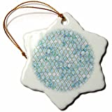 3dRose Uta Naumann Faux Glitter Pattern - Luxury Trendy Beach Sea Moroccan Arabic Quatrefoil Tile Pattern - 3 inch Snowflake Porcelain Ornament (orn_268954_1)