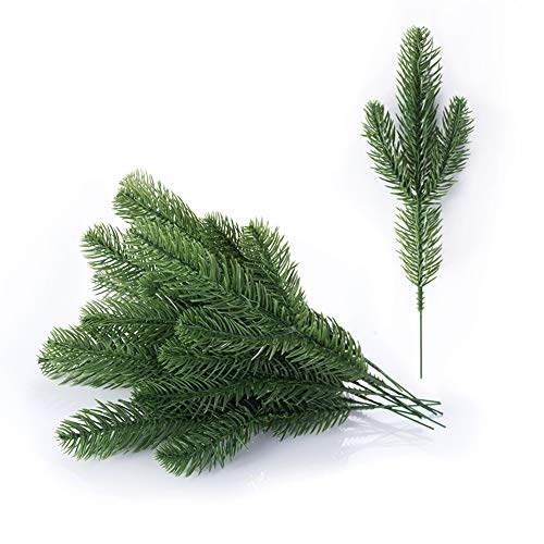 ial Greenery Xmas Pine Picks Pine Leaves Pine Twigs for Crafts Indoor and Outdoor Christmas Holiday Home Garden Decor ()