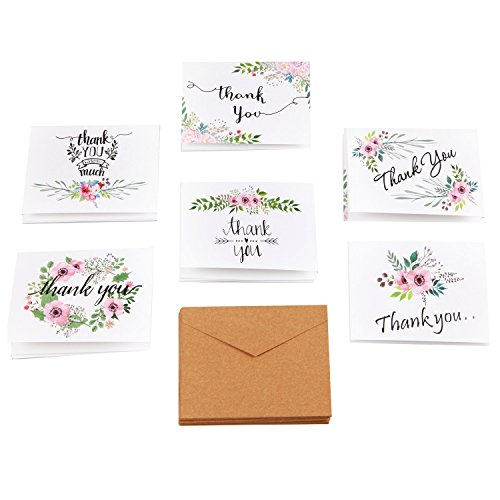 Thank You Cards Floral Flower Greeting Cards - 48 Assorted Bulk Box, 6 Design Blank Inside 4 x 6 inch- Brown Craft Envelopes Included Photo #3