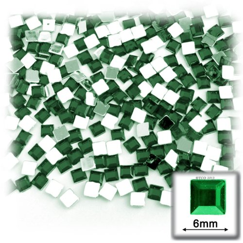 The Crafts Outlet 144-Piece Flat Back Square Rhinestones, 6mm, Emerald Green