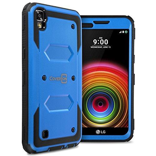 LG X Power Case, LG K6P Case, CoverON [Tank Series] Tough Hybrid Hard Armor Protective Phone Cover Case For LG X Power K210 / K6P - Blue