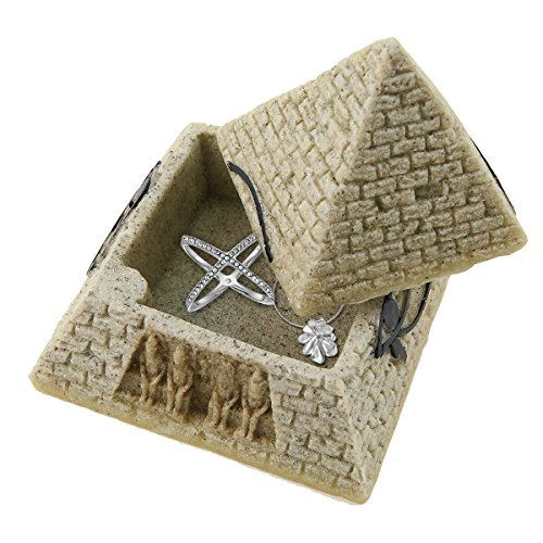 Sandstone Ancient Egyptian Pyramid Eye of Horus Hinged Jewelry Box Creative Decoration Storage Container Box Figurine Statue for Home Decoration Crafts - Box Pyramid