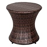 Sundale Outdoor Hourglass Brown Wicker Accent Table
