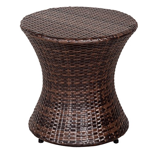 - Sundale Outdoor Wicker Hourglass Accent Side Table All Weather Patio Furniture