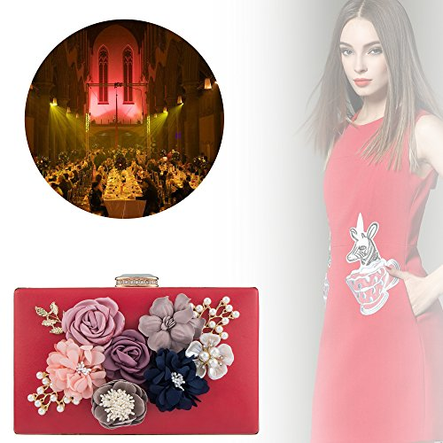 Bag Red Purses Wedding Pearl Evening Bagood Shoulder Flower Handbag Beaded Women's Bridal Clutches Bags for q6wvIH