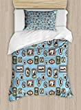 Ambesonne Vintage Twin Size Duvet Cover Set, Pictures Different People Black Silhouettes in Antique Frames Hanging on the Wall, Decorative 2 Piece Bedding Set with 1 Pillow Sham, Multicolor