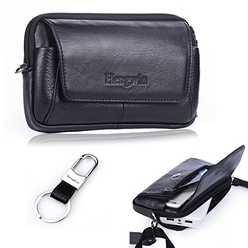 iPhone 7 Plus Belt Holster Pouch Crossbody Phone Bag Genuine Leather Small Travel Shoulder BagMens Cellphone Purse Mini Messager Fanny Pack for iPhone 6S Plus Note 5 4 S6 Edge Plus+Hwin Keyring-Black (Belt Wallet For Men compare prices)
