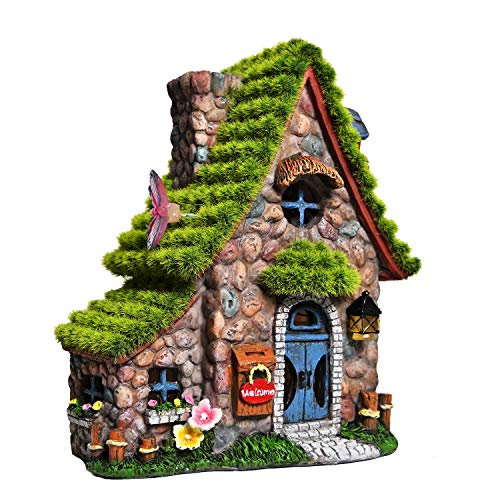 ASAWASA Resin Fairy House Statues with Solar Powered Lights, Funny Garden Sculptures with Flocked and Cobblestone Decor…