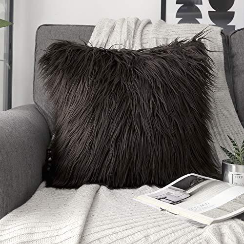 Phantoscope Decorative New Luxury Series Merino Style Coffee Faux Fur Throw Pillow Case Cushion Cover 18