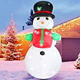 Fanshunlite Christmas Inflatable 8 FT Snowman with Hat Lighted Blow-Up Yard Party Decoration for Xmas Airblown Inflatable Outdoor Indoor Home Garden Family Prop Yard
