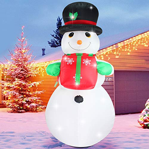 (Fanshunlite Christmas Inflatable 8 FT Snowman with Hat Lighted Blow-Up Yard Party Decoration for Xmas Airblown Inflatable Outdoor Indoor Home Garden Family Prop)