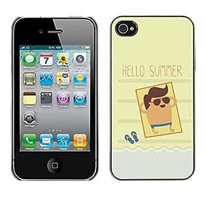 TopCaseStore / la caja del caucho duro de la cubierta de protección de la piel - Sun Beach Tan Seaside Cool - Apple iPhone 4 / 4S