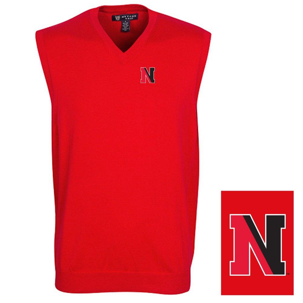 Oxford NCAA Northeastern Huskies Men's Solid Vee Neck Sweater Vest, Flag Red, Small