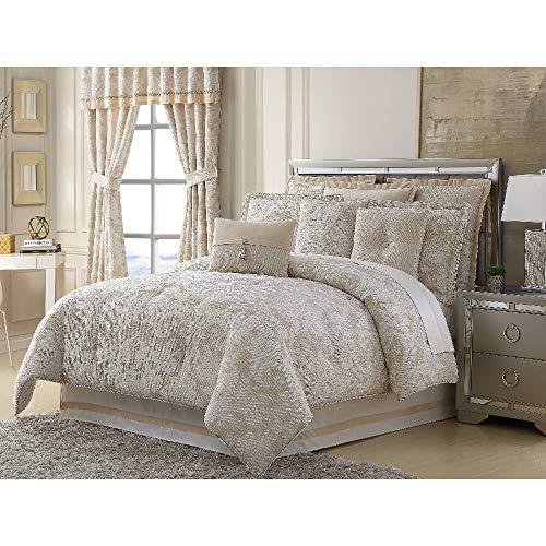 HNU 4 Pieces Medallion Comforter Set King, Glam Textured Motif Elegant Chenille All Seasons Ivory Beige Bedding Oversized Beautiful Decorative Bedskirt Included