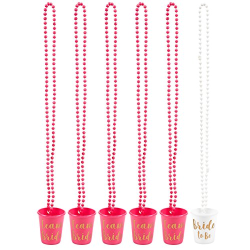 6-Pack Team Bride and Bride To Be Plastic Beaded Bridal Shot Glasses Necklaces - Perfect for Bachelorette, Hot Pink and White with Gold Font - 30.4 Inches Long - Gold Glass Beaded Necklace