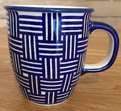 - Boleslawiec Polish Pottery Ceramic Coffee Mug, Modern Artistic Lines Pattern, Handmade in Poland