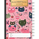 Blank Music Sheet Notebook: Music Manuscript Paper, Staff Paper, Music Notebook 12 Staves, 8.5 x 11, A4, 100 pages, Pink Cute