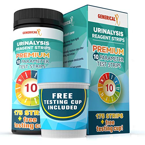 (175 STRIPS + FREE TESTING CUP) |10 Parameter Urine Test Kit | for UTI's, Ketosis, pH, Blood, Protein, Ascorbate | For Gallbladder, Bladder, Urinary Tract, Kidney, Liver Health | FDA-Approved Reagents